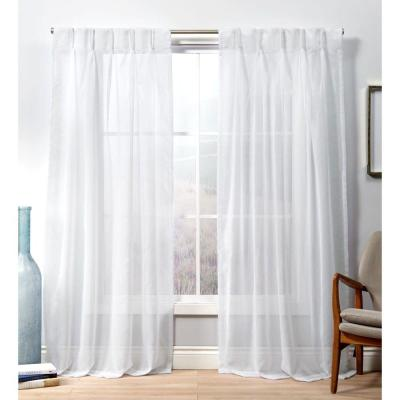 Penny PP Winter White Sheer Triple Pinch Pleat Top Curtain Panel - 27 in. W x 96 in. L (2-Panel)