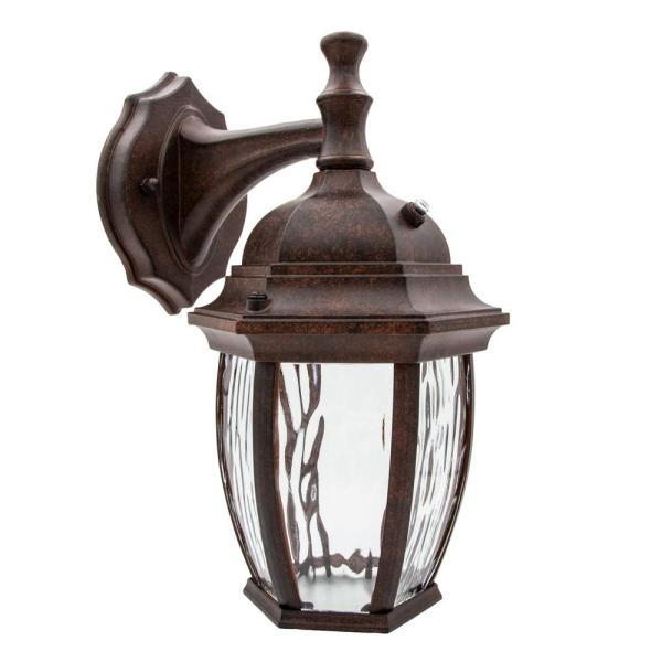 1-Light Aged Bronze LED Outdoor Wall Lantern Sconce with Dusk to Dawn Sensor
