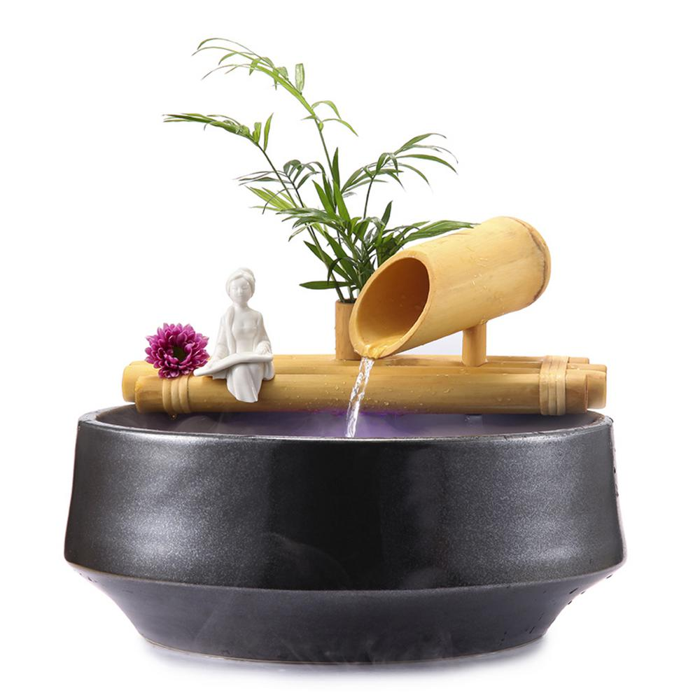 12 in. Bamboo Fountain with Plant Holder-Complete with Pump and Tubing
