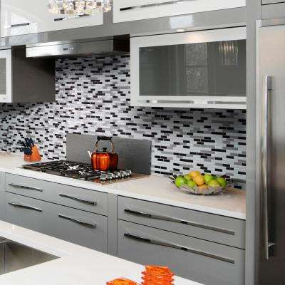 Muretto Alaska Approximately 3 in. W x 3 in. H White, Gray and Charcoal Decorative Mosaic Wall Tile Backsplash Sample