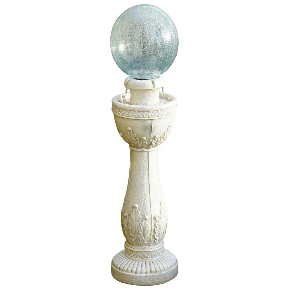 Crackle Ball Cordless Fountain in White Stone