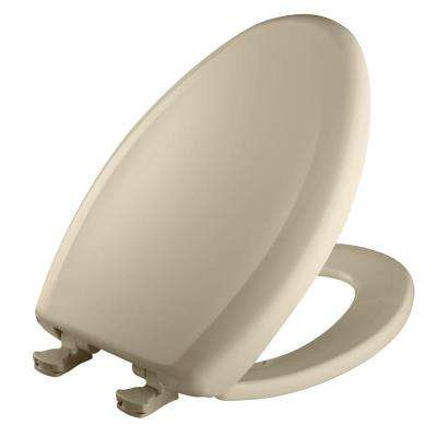 Slow Close STA-TITE Elongated Closed Front Toilet Seat in Bone