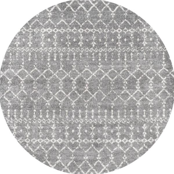 Moroccan Hype Boho Vintage Diamond Gray/Ivory 5 ft. Round Area Rug