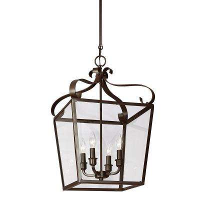 Lockheart 13.75 in. W x 23.25 in. H 4-Light Heirloom Bronze Hall/Foyer Lantern Pendant with Clear Glass Panels