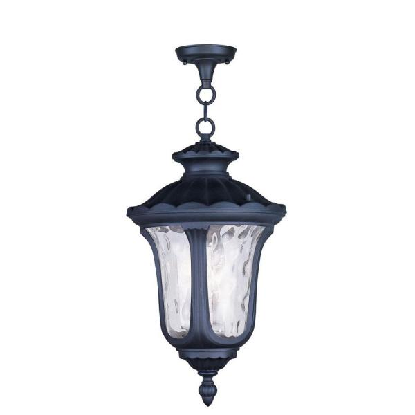 Oxford 3 Light Black Outdoor Pendant Lantern
