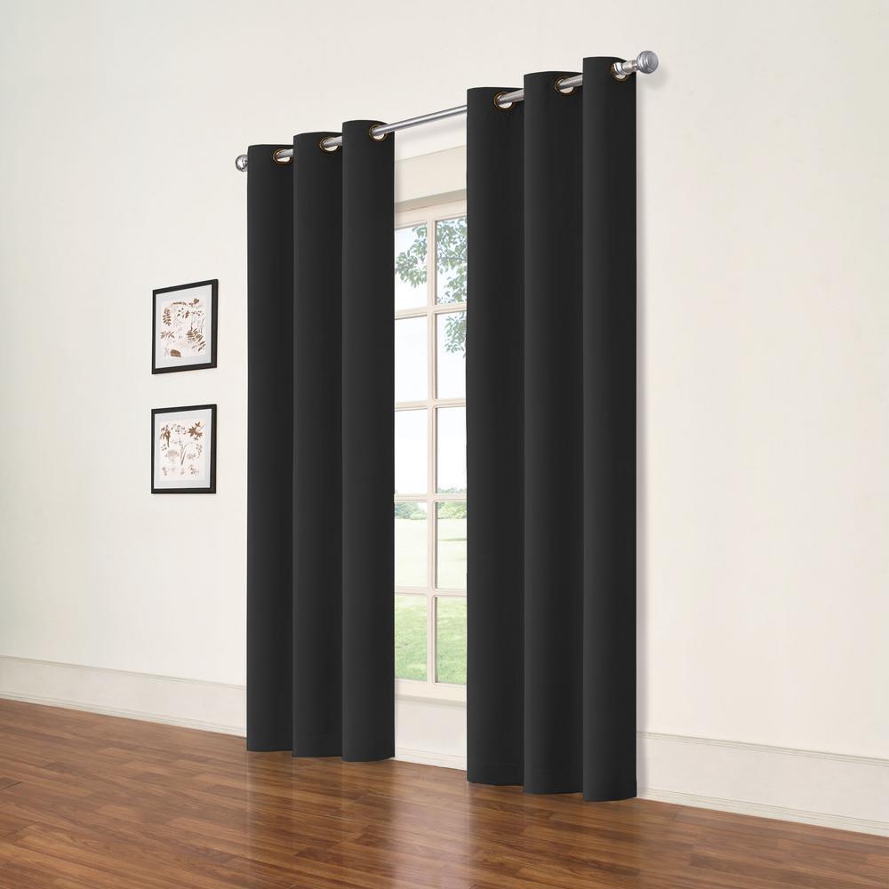 Darrell Black Blackout Window Panel - 37 in. W x 84 in. L (2-Pack)