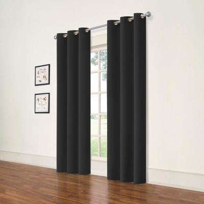 Darrell Black Blackout Window Panel - 37 in. W x 84 in. L (2-Pack)