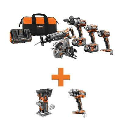 18-Volt Lithium-Ion Cordless 5-Tool Combo w/Bonus OCTANE Brushless Fixed Base Router & OCTANE Brushless Impact Wrench
