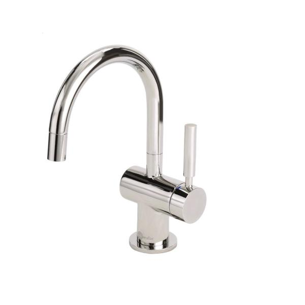 Insinkerator Indulge Modern Single Handle Instant Hot And Cold Water Dispenser Faucet In Polished Nickel F Hc3300pn The Home Depot
