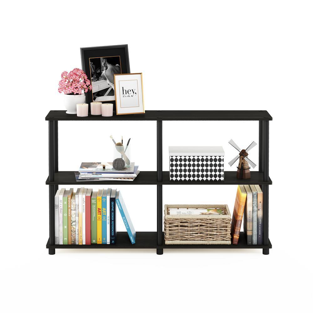 29.5 in. Espresso/Black Plastic 3-shelf Etagere Bookcase with Open Back