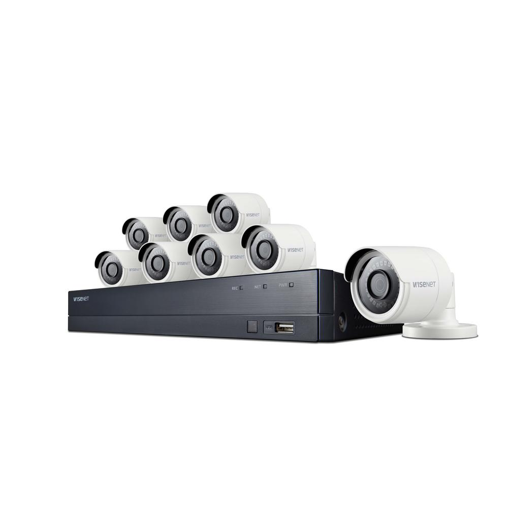 Wisenet 8-Channel 4M 2TB DVR Surveillance System with 8-Wired Bullet Cameras