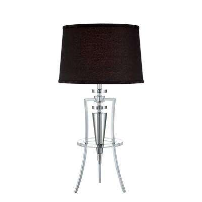 31 in. Chrome Table Lamp with Black Fabric Shade