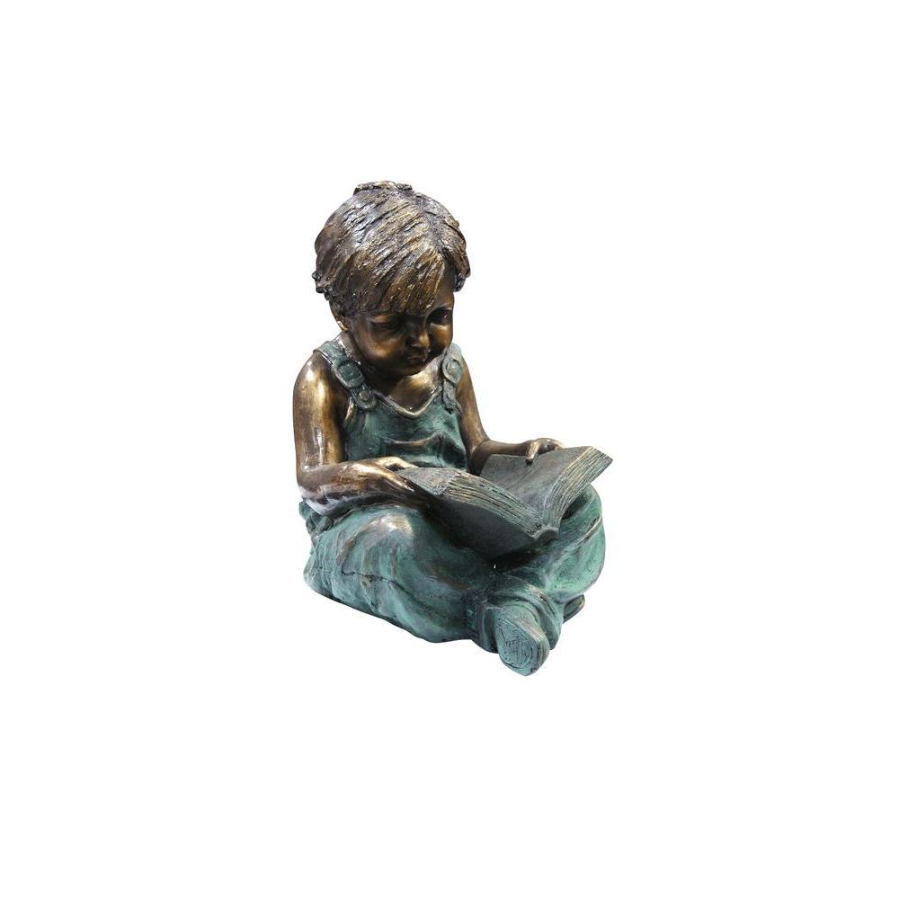 Alpine Corporation Boy Sitting Down Reading Book Statue Set