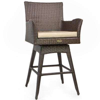 Rattan Crawford Wicker Outdoor Patio Bar Stool with Ivory Cushion Included