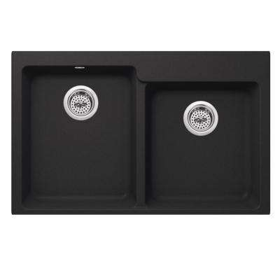 Dual Mount Quartz 33 in. 0-Hole 50/50 Offset Double Bowl Kitchen Sink in Onyx Black