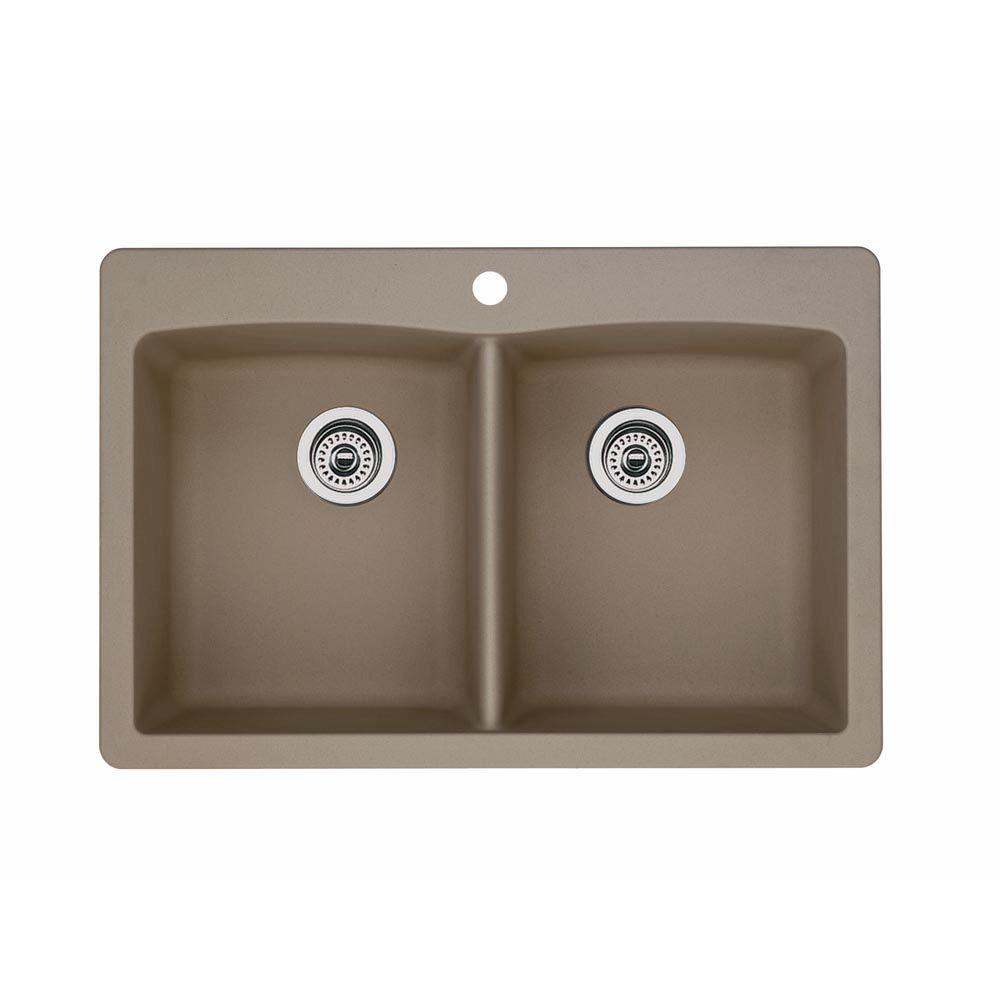 Blanco Diamond Dual Mount Composite 33 In 1 Hole Double Basin Kitchen Sink In Truffle 441285