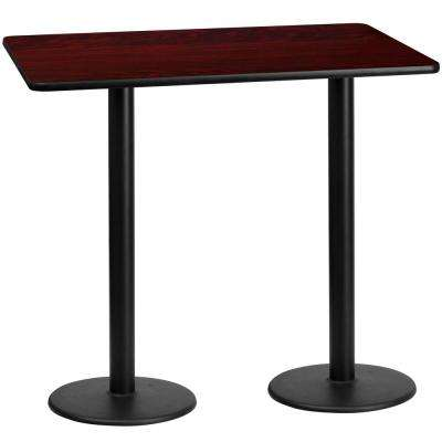 30 in. x 60 in. Rectangular Black and Mahogany Laminate Table Top with 18 in. Round Bar Height Table Bases