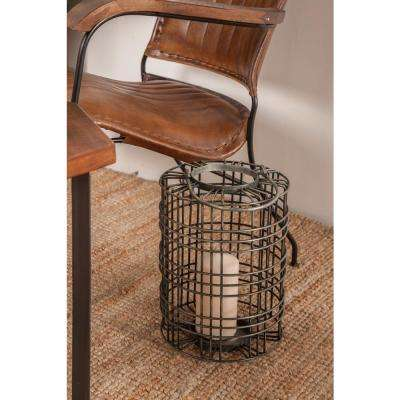 17 in. Gray Cylindrical Cage Design Candle Lantern