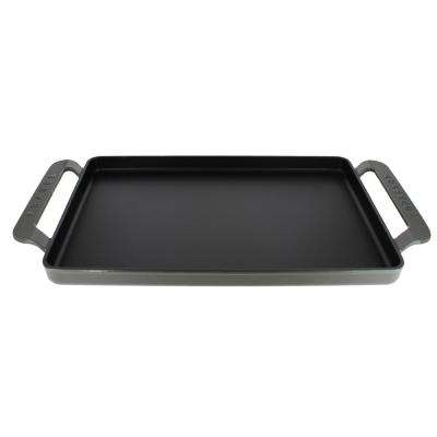 14 in. Caviar-Grey Rectangular French Enameled Cast Iron Griddle