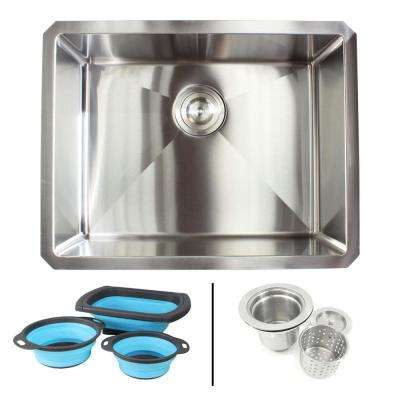 Undermount 16-Gauge Stainless Steel 23 in. x 18 in. x 10 in. Single Bowl Kitchen Sink Combo