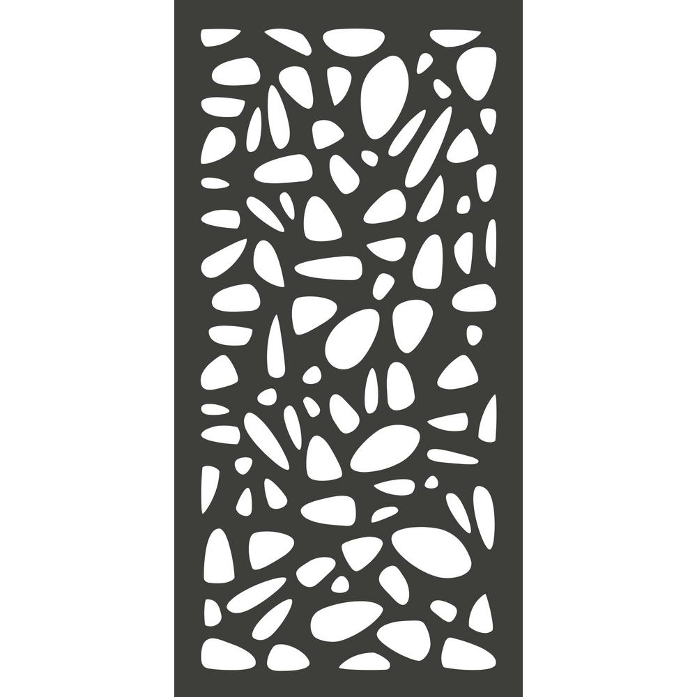 4 Ft. X 2 Ft. Charcoal Gray Modinex Decorative Composite Fence Panel In Pebbles Design by Home Depot