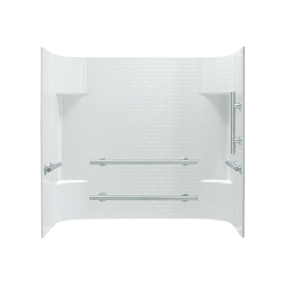 STERLING Accord 31.25 in. x 60 in. x 56-1/4 in. 3-piece Direct-to-Stud Tub Wall Set in White