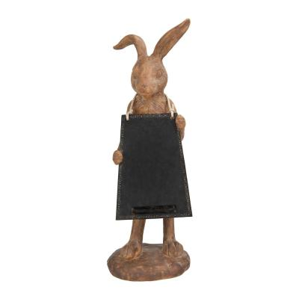 Rabbit Shaped Resin Figurine Holding Chalkboard