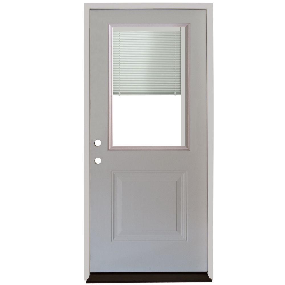 Home Depot Doors Exterior Steel: Steves & Sons 36 In. X 80 In. 1-Panel 1/2 Lite Mini-Blind
