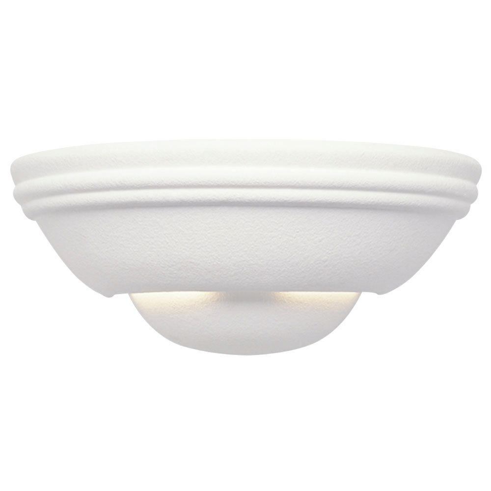 Westinghouse 1-Light Textured Ceramic White Interior Wall Sconce with Paintable