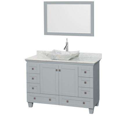 Acclaim 48 in. W x 22 in. D Vanity in Oyster Gray with Marble Vanity Top in Carrera White with White Basin and Mirror