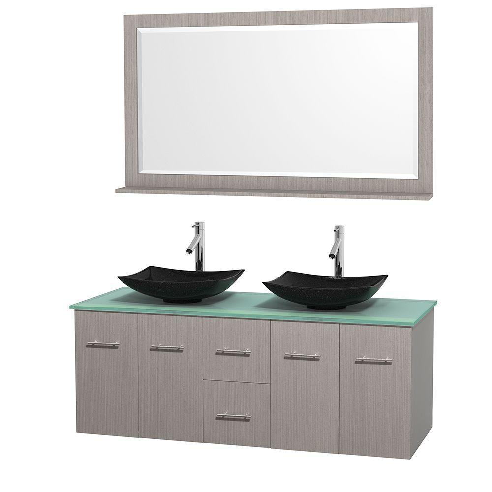 60 double sink vanity with granite top. Centra 60 in  Double Vanity Gray Oak with Glass 50 58 Sink Bathroom Vanities Bath The Home Depot