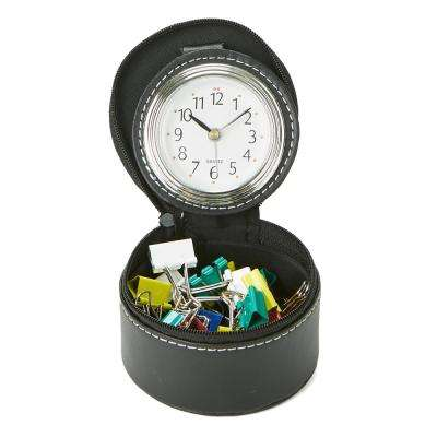 Single Compartment Desk Organizer with Attached Watch in Black
