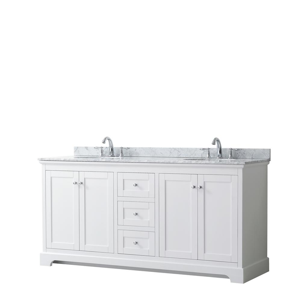 Wyndham Collection Avery 72 in. W x 22 in. D Bathroom Vanity in White with Marble Vanity Top in White Carrara with White Basins