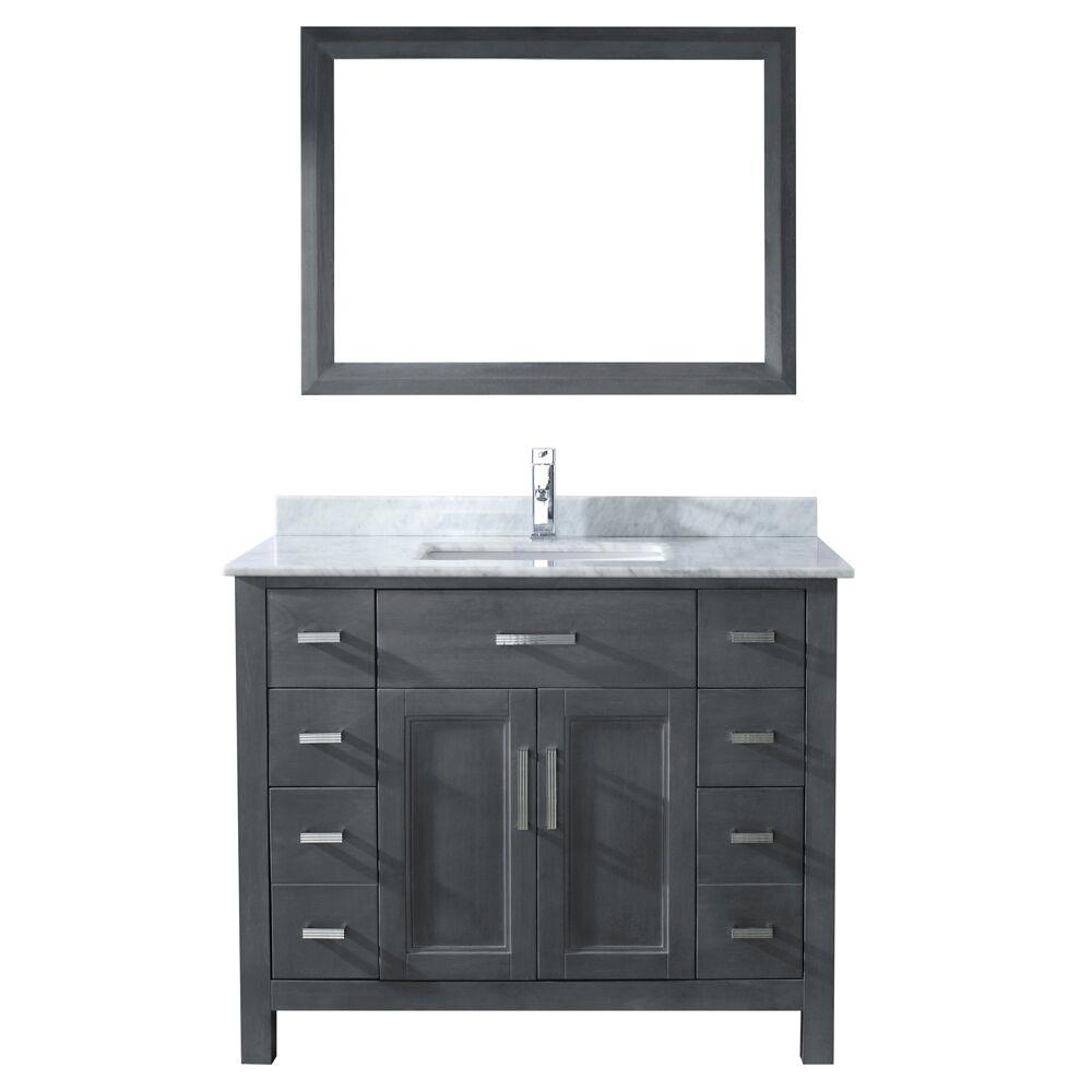 Studio Bathe Kelly 42 in. Vanity in French Gray with Marble Vanity Top in Carrara White and Mirror