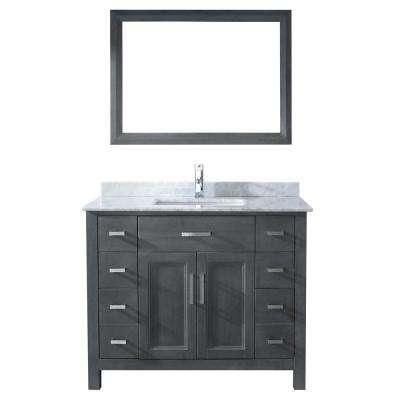 Kelly 42 in. Vanity in French Gray with Marble Vanity Top in Carrara White and Mirror