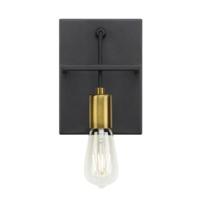 Tae 5.5 in. W 1-Light Black Industrial Metal Wall Sconce with Aged Brass Socket Cup and Black Cord