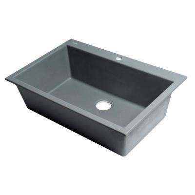 Drop-In Granite Composite 33 in. 1-Hole Single Bowl Kitchen Sink in Titanium