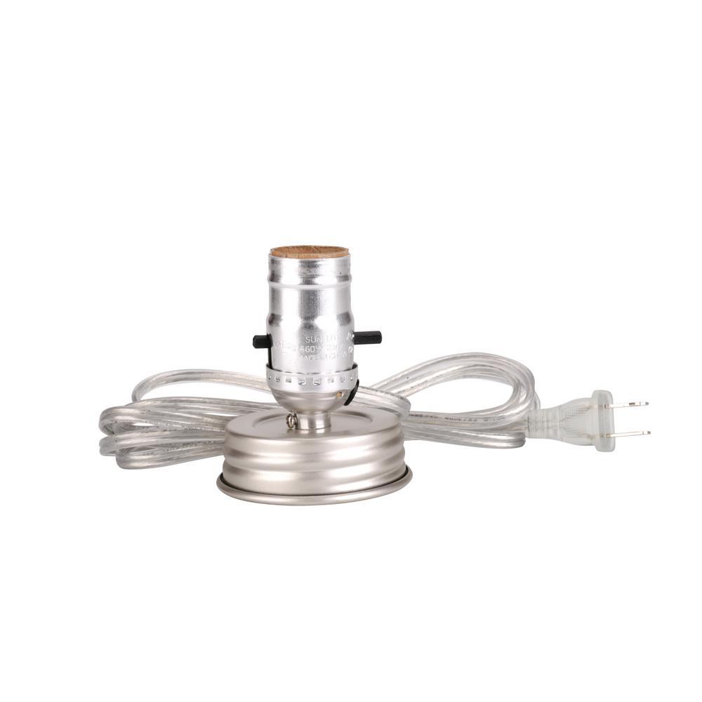 Aspen Creative Corporation Silver Mason Jar Lamp Push Through Socket Kit 1 Pack