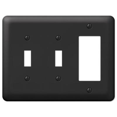 Declan 3 Gang 2-Toggle and 1-Rocker Steel Wall Plate - Black
