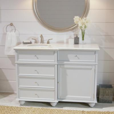 Hampton Harbor 48 in. Vanity in Dove Grey with Natural Marble Vanity Top in White with White Sink