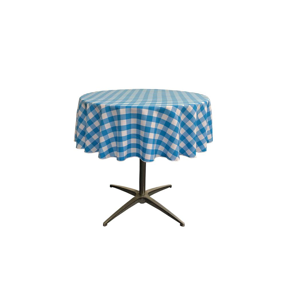 Great White And Turquoise Polyester Gingham Checkered Round Tablecloth
