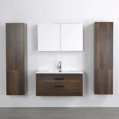 39.4 in. W x 19.3 in. H Bath Vanity in Brown with Resin Vanity Top in White with White Basin and Mirror