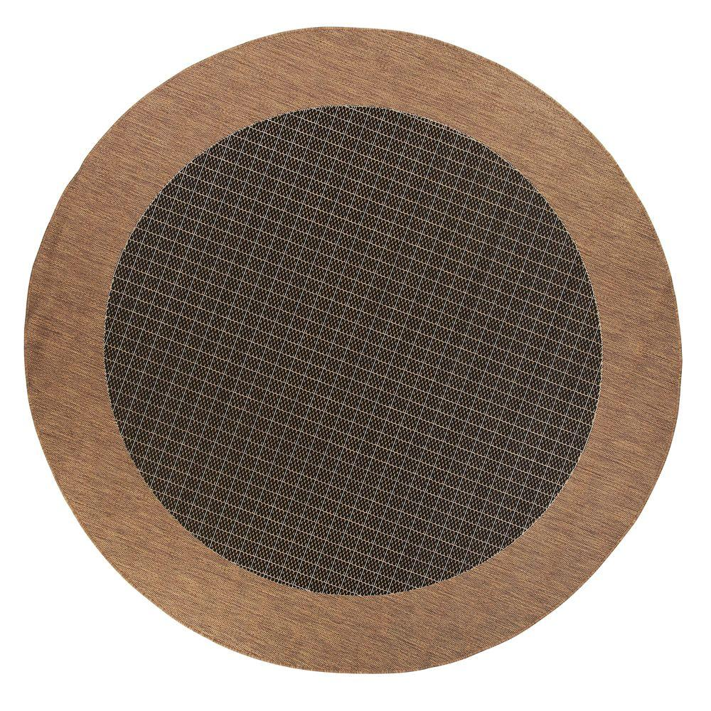 Home Decorators Collection Checkered Field Black 8 ft. 6 in. Round Area Rug