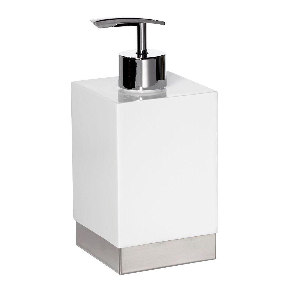 Roselli Trading Company 7 in. Lotion Dispenser in Resin and Stainless Steel