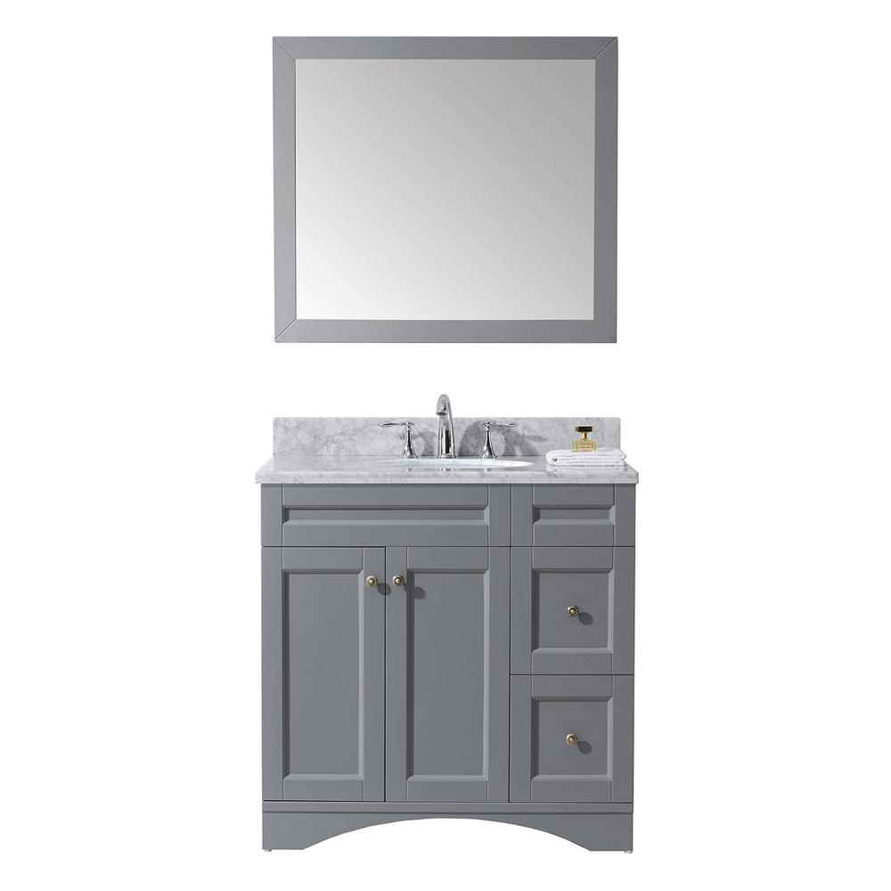 Virtu USA Elise 36 In. W Bath Vanity In Gray With Marble Vanity Top In White With Round Basin