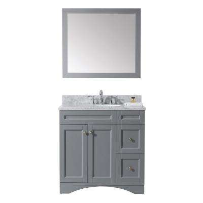 Elise 36 in. W x 22 in. D Vanity in Grey with Marble Vanity Top in White with White Basin and Mirror