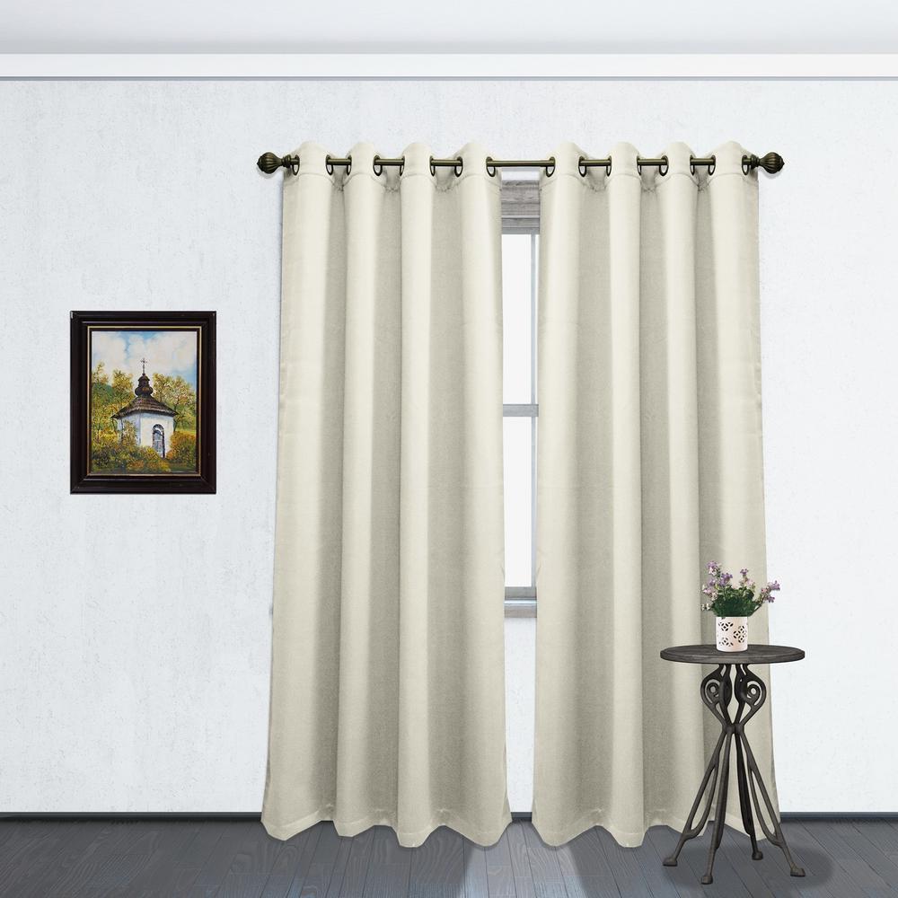84 in. L Blackout Grommet Curtain Panel in Beige