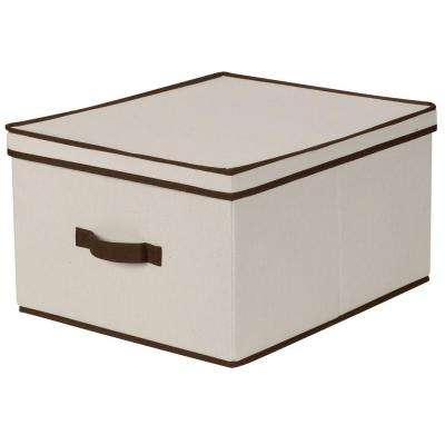16 in. x 19 in. Natural Canvas with Brown Trim Jumbo Storage Box