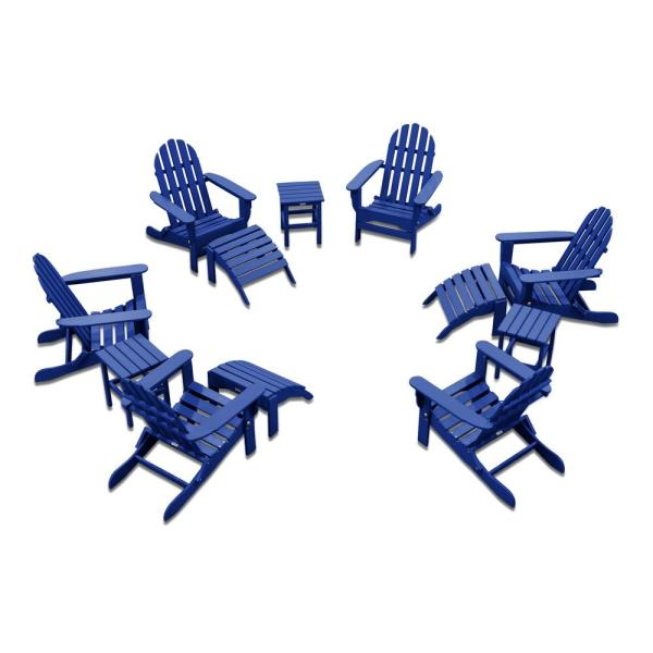 Icon Royal Blue 12-Piece Plastic Adirondack Patio Conversation Seating Set