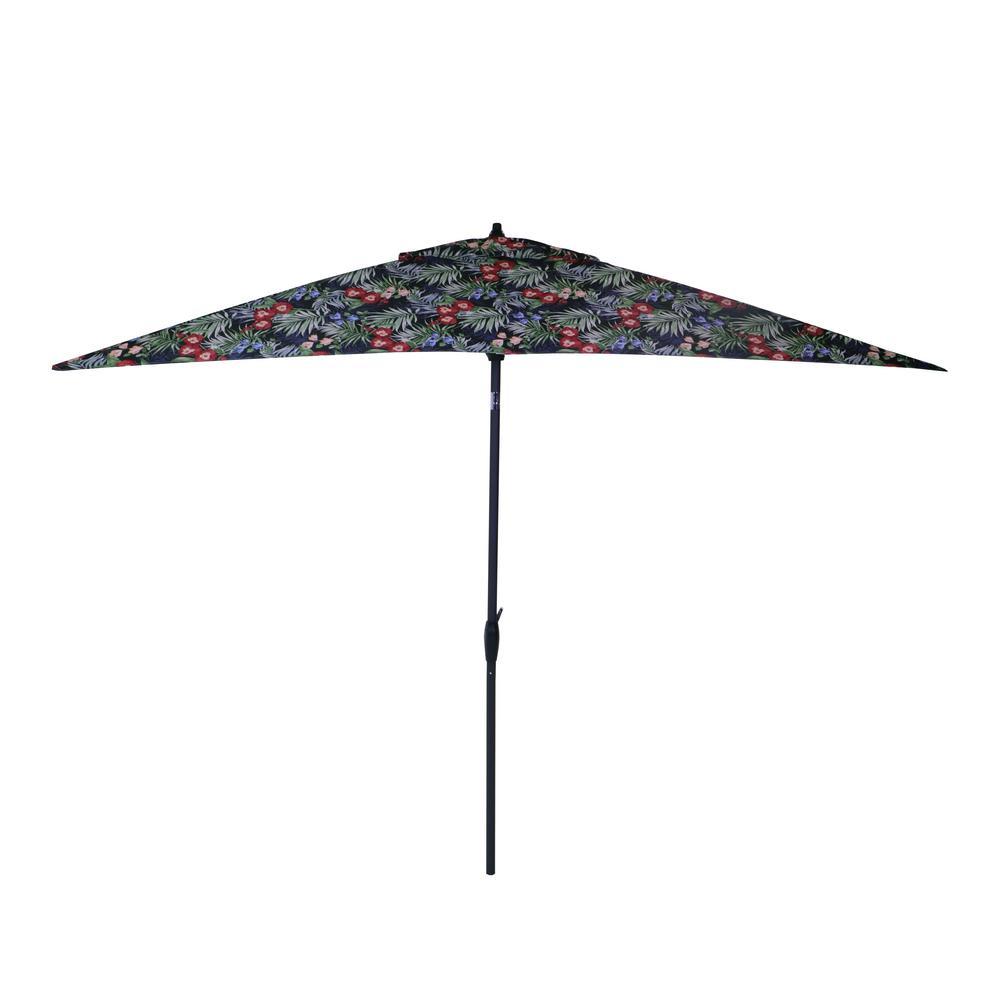 10 ft. x 6 ft. Aluminum Market Patio Umbrella in Caprice Tropical with Push-Button Tilt